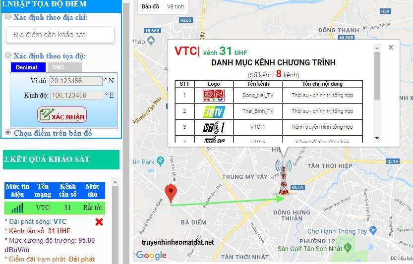 Kết quả dò kênh VTC tại TP HCM