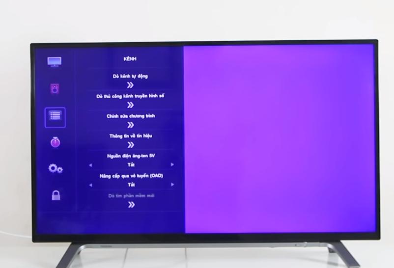 Bước 2 dò kênh trên tivi Toshiba DVB T2
