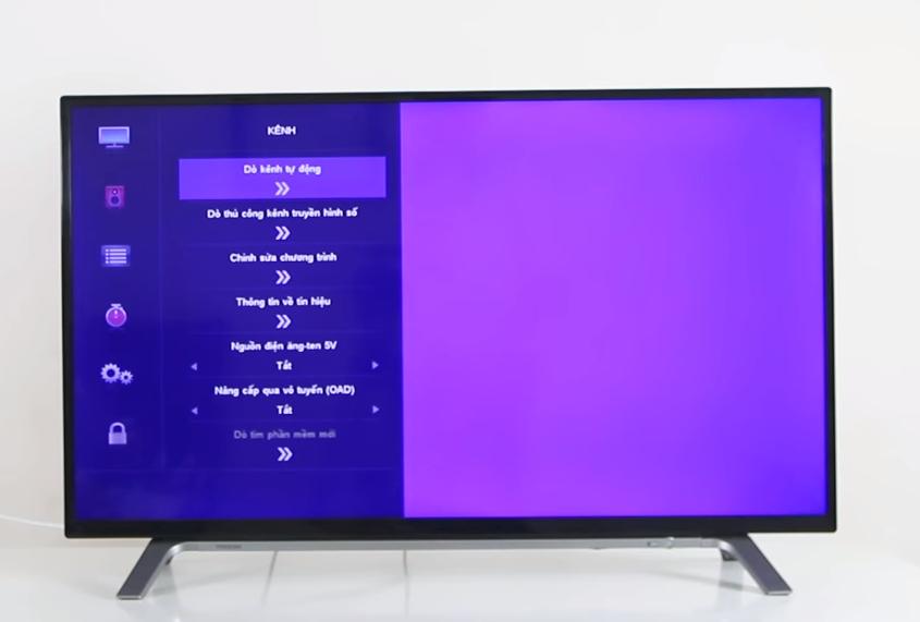 Bước 3 dò kênh trên tivi Toshiba DVB T2