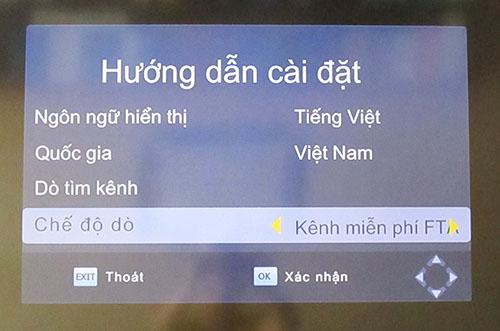 Dò các kênh DVB T2 miễn phí