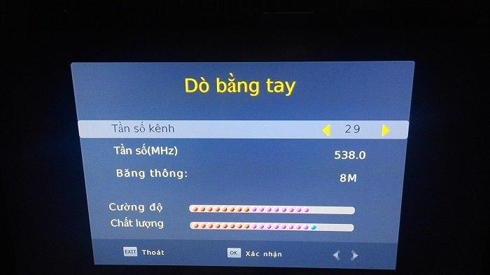 Dò kênh DVB T2 thủ công