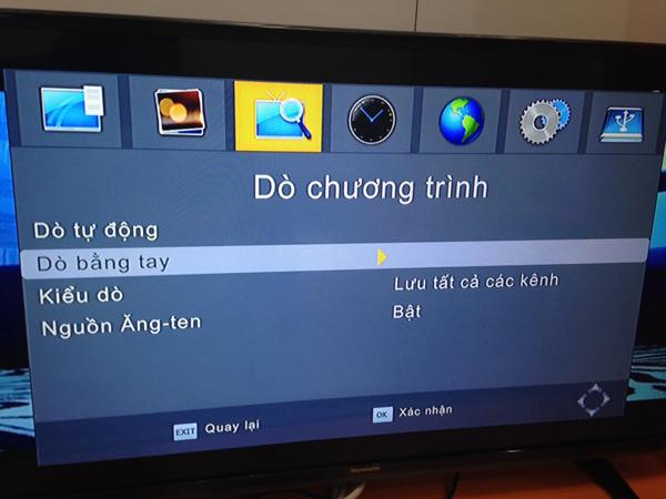 Các chế độ dò kênh truyền hình mặt đất của đầu thu DVB T2