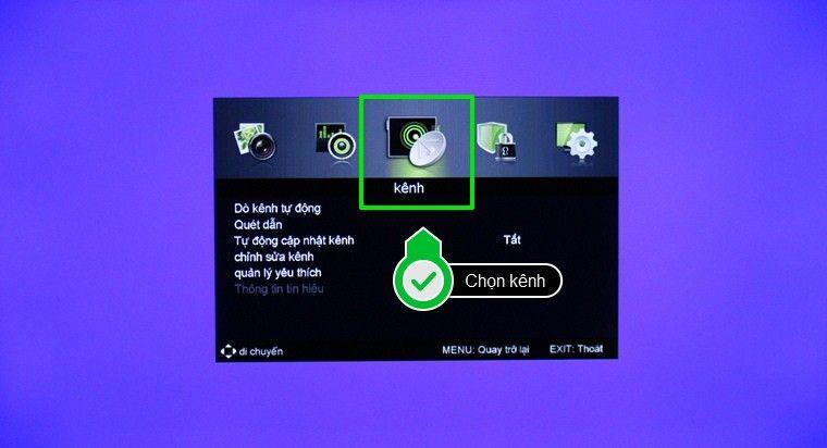 Chọn mục dò kênh trong tab tùy chọn